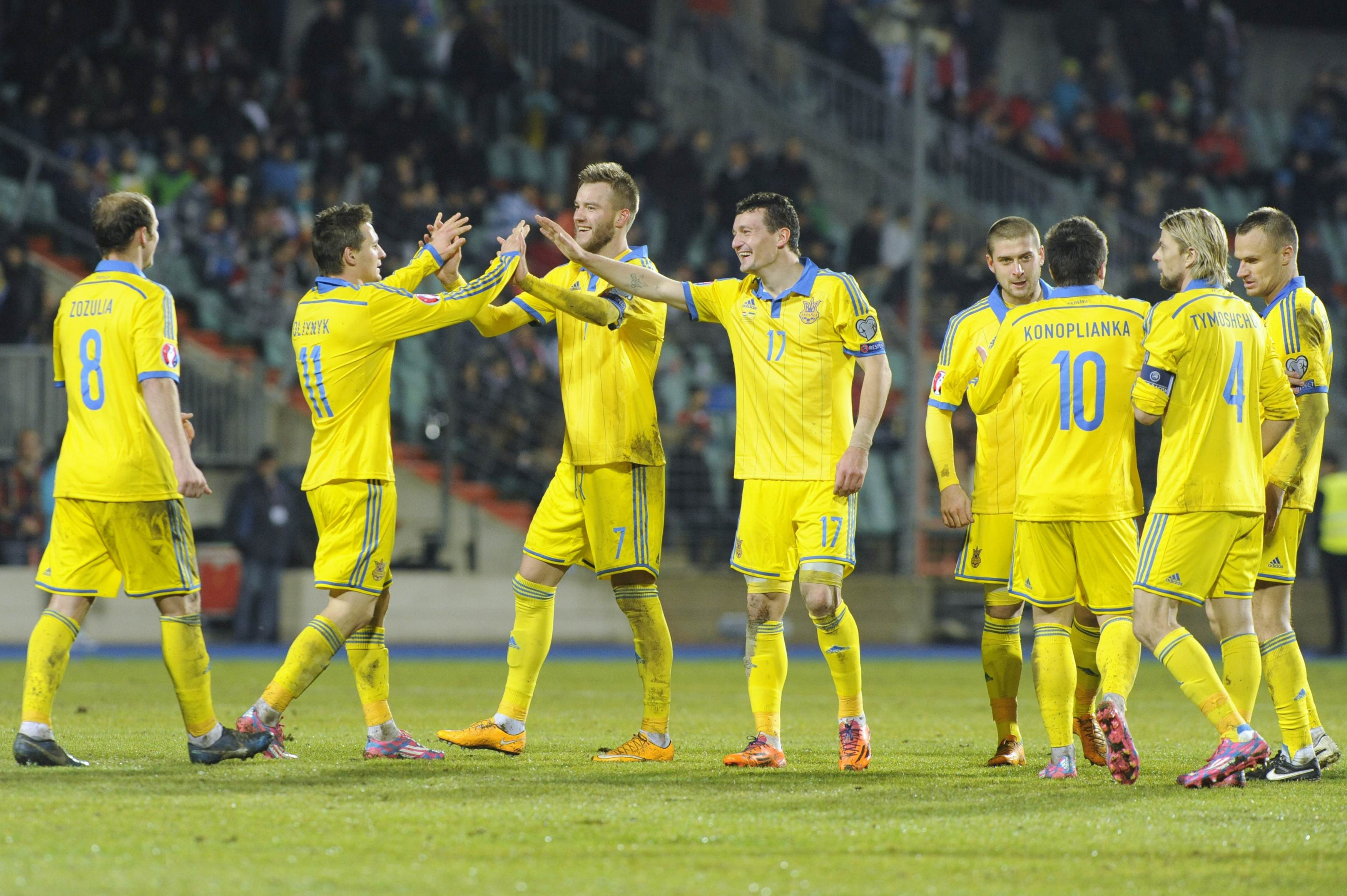 Ukraine's players celebrate a goal against Luxembourg during their Euro 2016 qualification soccer match at the Josy Barthel stadium in Luxembourg November 15, 2014.         REUTERS/Eric Vidal (LUXEMBOURG - Tags: SPORT SOCCER)
